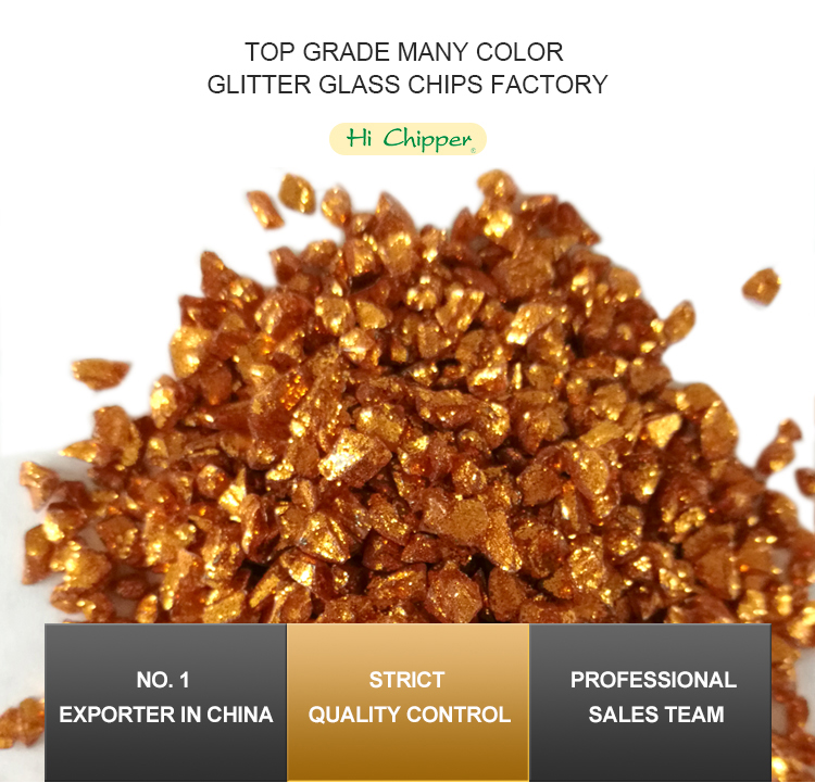 Gold coated recycled mirror glass chips for concrete