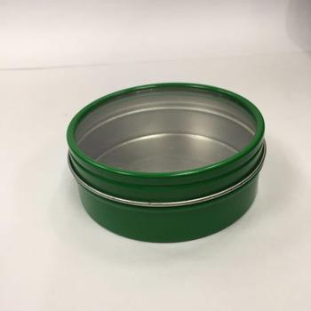 slip lid round candle tin with clear window