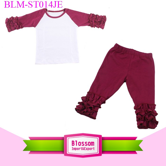 Solid Color Ruffle Style Girls Boutique Clothing Sets Wholesale Icing Pants And Shirts Set 2016 New Girl Icing Ruffle Clothing