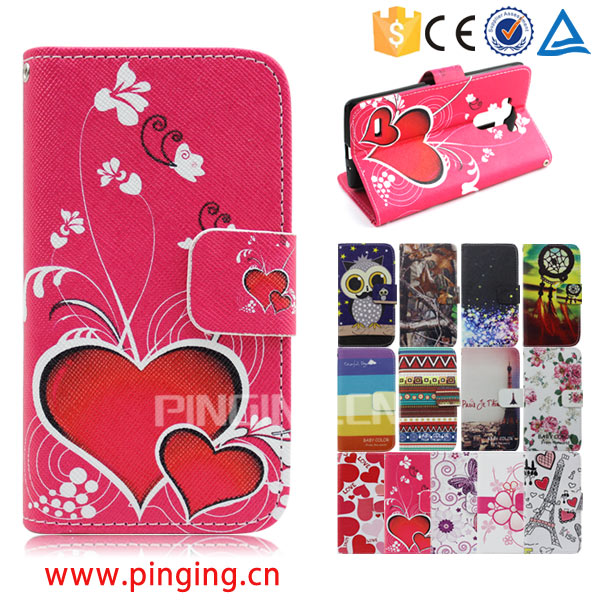 Color printing leather with card slots mobile phone accessory for cherry mobile c200