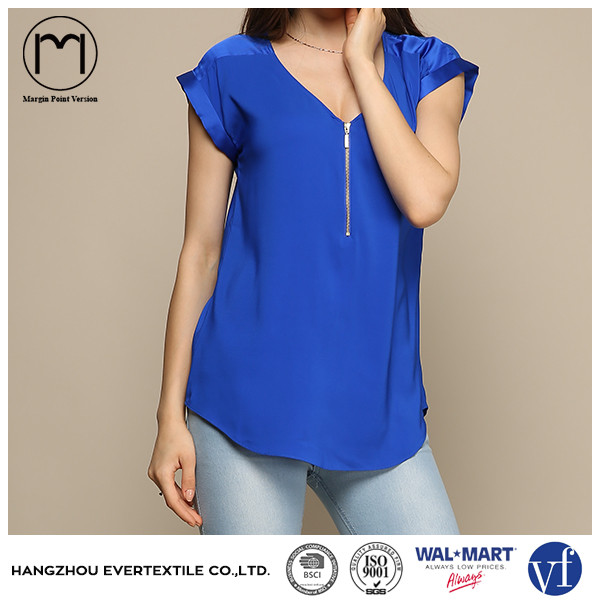 OEM latest light weight V neck lady chiffon top with silver zipper