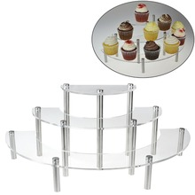 Factory Custom Clear 3 Tier Half Moon Shelf Table Top acrylic display