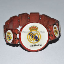 custom made football team wood watch style tile bracelet