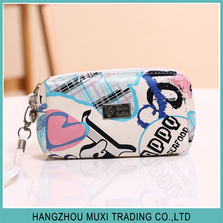 doulbe layer portable cosmetic makeup bag floral print PU leather wash bag with wristlet strap