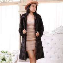 Factory Price Women's Winter Long Natural Mink Fur Coat / Long Black Fur Jacket