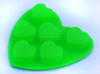 Colorful heart shape 6pcs silicone ice cube molds