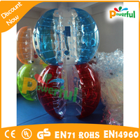 2015 new half clear half color inflatable loopyball, hot inflatable bubble soccer suit