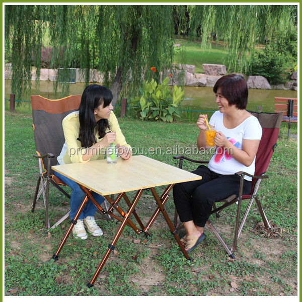 Bamboo Square Picnic Table Foldable Camping Table Outdoor Take Easy