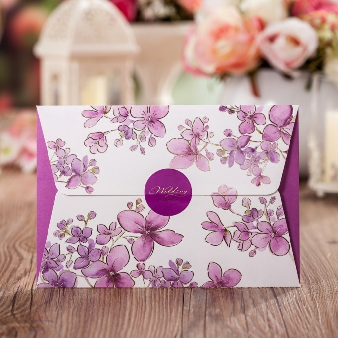 wishmade high quality wedding invitation card unique Korean purple paper <strong>crafts</strong> CW5020