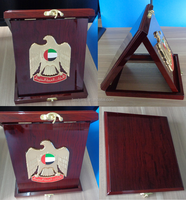 UAE gold falcon eagle shield wooden plaque with luxurious wooden box