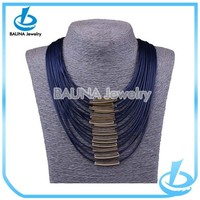 Fashion blue multilayer leather necklace 2014 spring fashion jewelry