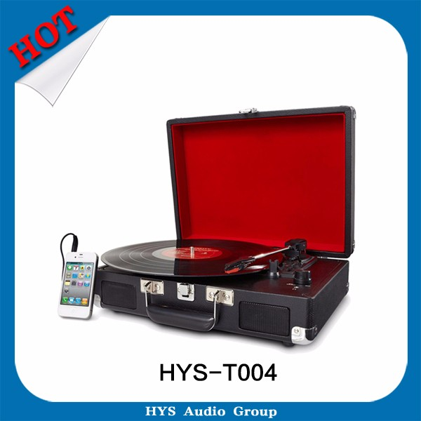 High end 35/45/78 RPM wooden record player vinyl turntable with usb sd