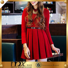 2014-2015 New Fashion Sexy Elegant Ladies Pleated Long Sleeve Red Bridal Dress