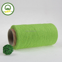 NE 21s apple green color yarn supplier open end yarn recycled cotton/polyester blended knitting yarn