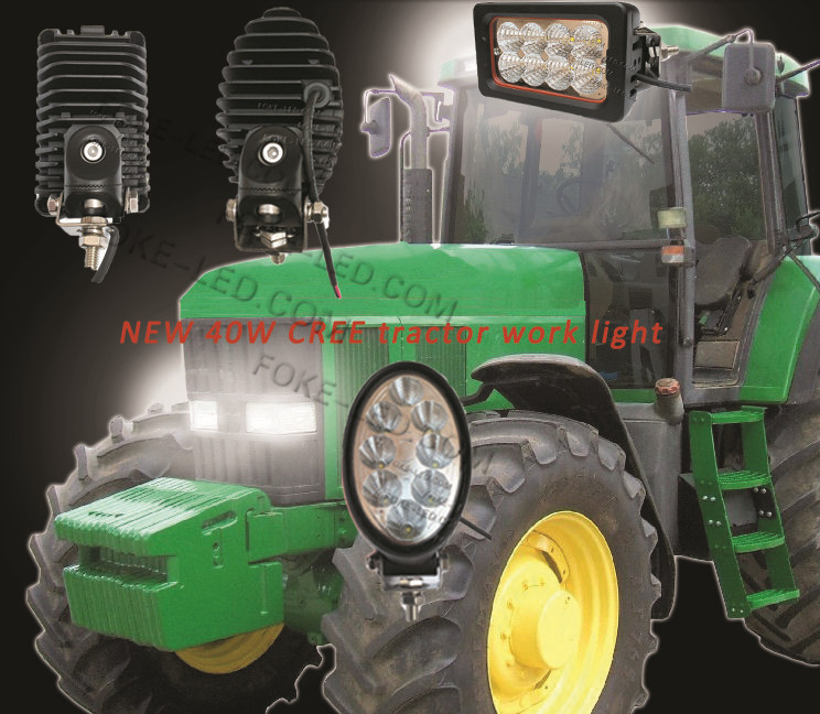 EMC 6inch square Agricultural vehicle light 40W led tractor work light with side mounting and leg