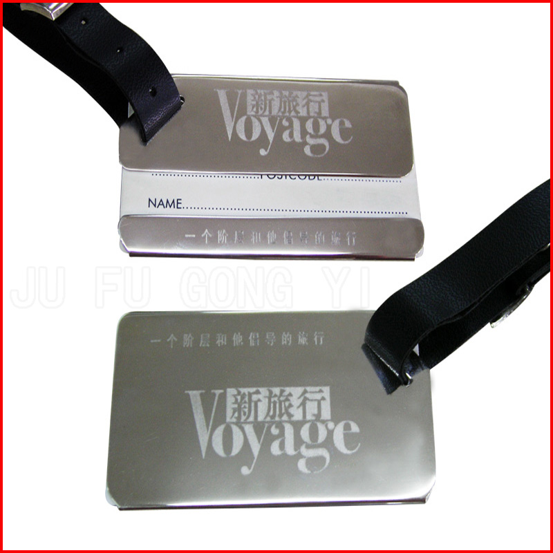 metal luggage tag with paper card and lether strap
