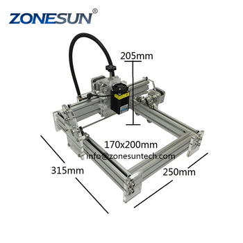 ZONESUN Laseraxe 405nm 2500m DIY Desktop Mini Laser Engraver Engraving Machine  Cutter Etcher 17X20cm Adjustable Laser supply