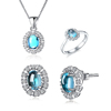 light blue topaz oval shaped 925 silver jewelry set natural gemstone jewelry set