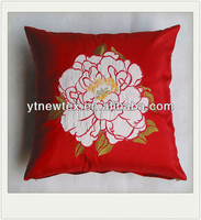 red taffeta cushion cover with applique