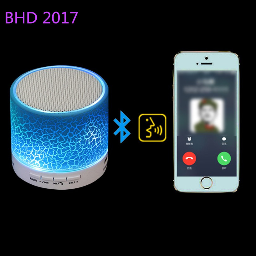 LED Portable New fabric wireless bluetooth active speaker with led light for phone