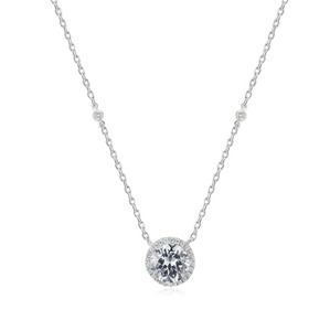 Single stone 925 sterling silver fashion pendant necklace cubic zirconia necklace