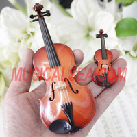 Miniature violin / Cello toy for music decoration mini musical instrument handmade wooden christmas ornament craft