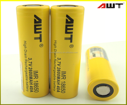 AWT 18650 40A 2600mah 3.7v 9.62wh rechargeable battery for vapor e cigarette accessaries kayfun v3 mini