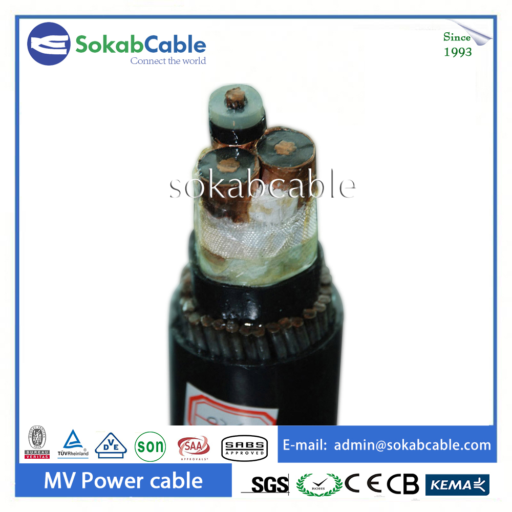 26/35kv steel wire armored 4 core armoured cable dc power cable