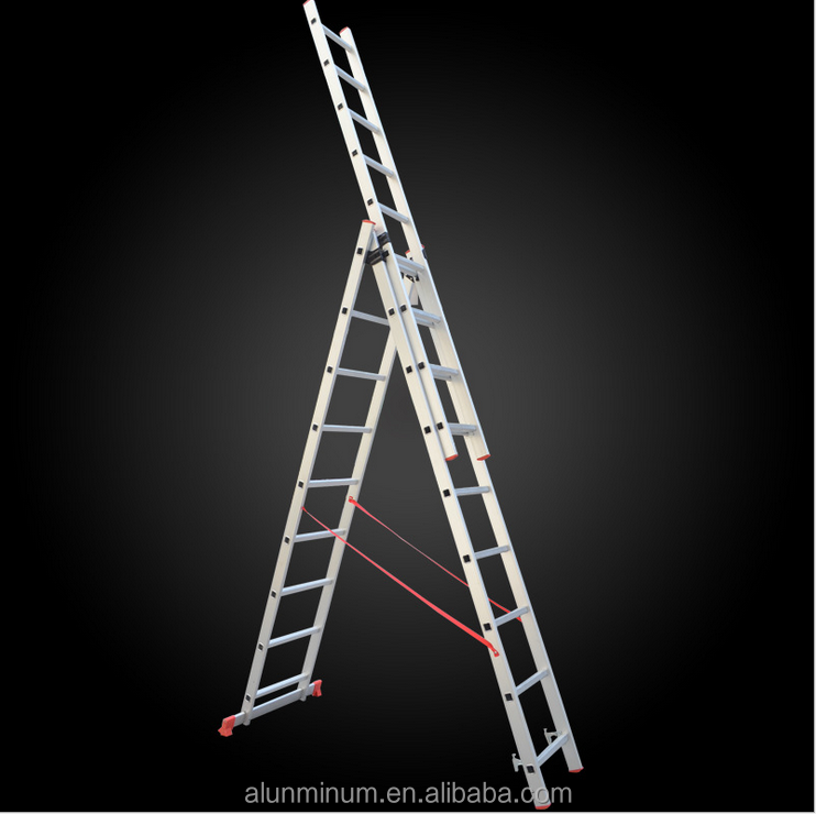 New style three section aluminum folding extension ladder platform