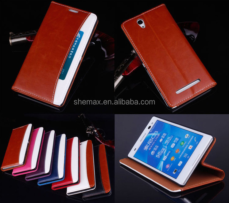New design leather wallet case for htc one x with stand function