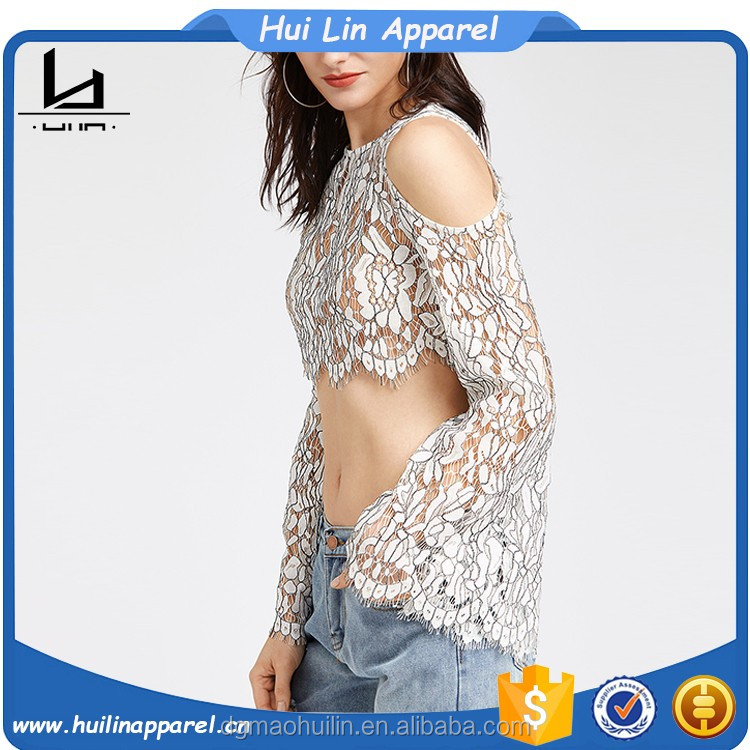 Alibaba wholesale custom bulk long bell sleeve cold shoulder floral lace blouse white