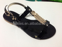 2015 nice design gold bling lady flat sandals