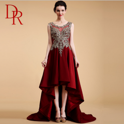 Clothing evening dresses lady high quality long tail sleeveless see through gold embroidered red dress short front long back