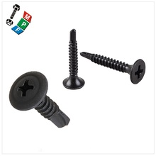 "Made in Taiwan Drywall #6-20 x 1-5/8"" Phillips Trim Head #1 Drive Size Fine Thread Black Phosphate #2 Self-Drilling Point Drywal"