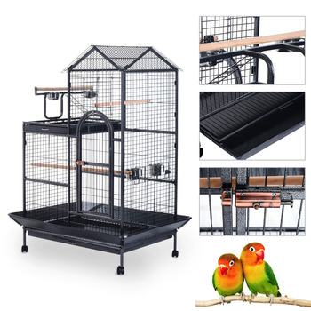 Large Metal Angel Parrot Play Top Cage with Wheels - Black
