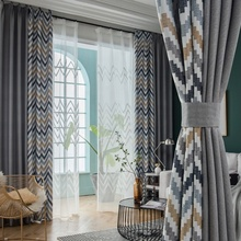 Hot sell modern geometric printed linen ready made blackout home window curtains for the living room bedroom curtain in grey