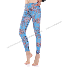 High wasited blue paisley sport wear women fitness custom running tights