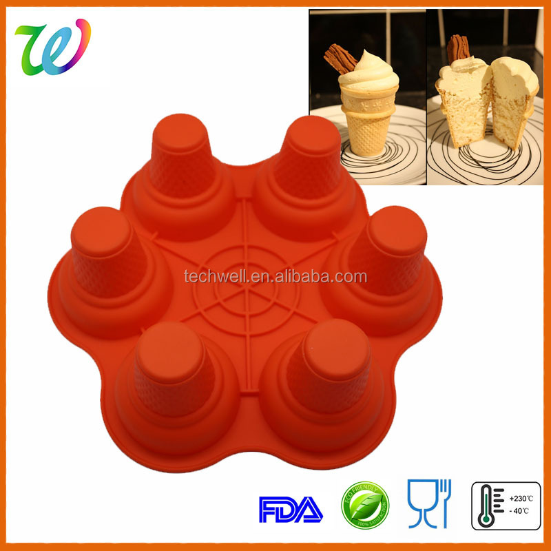 Ice cream cone cup shape silicone cupcake mold bakeware