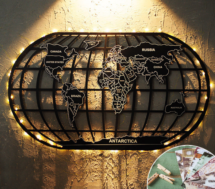 wholesale world map metal wall art with led light wall art for restaurant <strong>decor</strong>