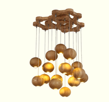 Postmodern wooden round ball LED chandelier fancy light for home
