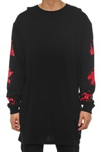 Printed T-Shirt Design Long Sleeve Tall Tee Black