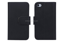 plain wallet leather case for iphone 4 mobile phones