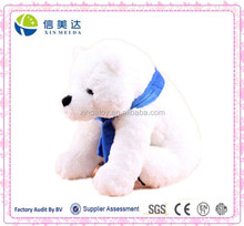 White Plush Polar Bear Soft Toys with Scarf