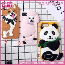 Hot Sales panda cute cartoon 3d silicone phone case for iphone 7 7plus