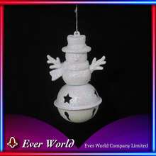 Best Price Christmas Ornament Stock Christmas Irid. White Plastic Snowman w/Metal Star Jingle Bell Ornament