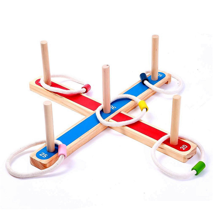 2017 hot sale outdoor Wooden toy cross ring toss game