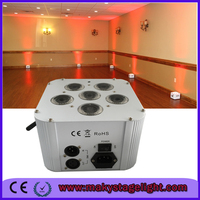 CE IRC 6 colors RGBAW UV 6in1 6 LED rechargeable battery powered and wireless DMX controlled wedding uplight / led small uplight