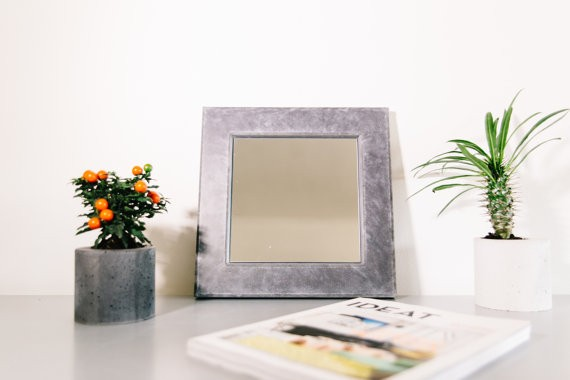 Concrete bathroom accessories FRAME Concrete Rectangle Mirror