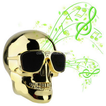 New arrival 2017 Hottest Metallic Cool Skull Shape Sunglass Mobile Mini Sound Box Subwoofer Wireless Speaker