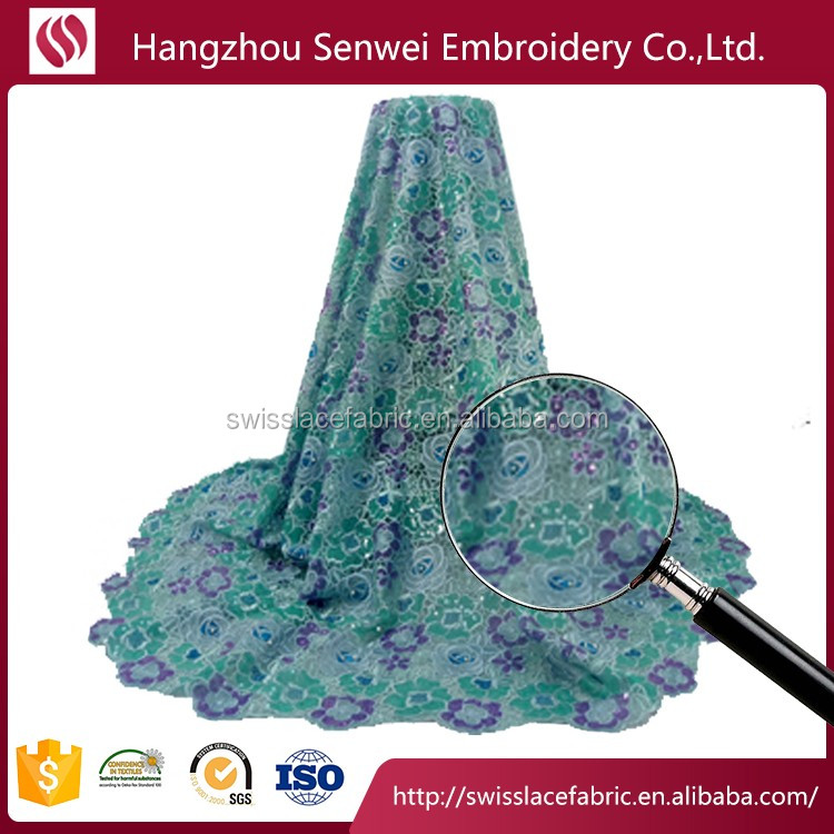 China fabric market wholesale lace tulle lace fabric sequin lace fabric for party 3935 in aqua